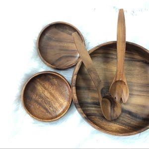 Wooden Salad Bowl Server, 4 Bowls, Fork Spoon NWOT